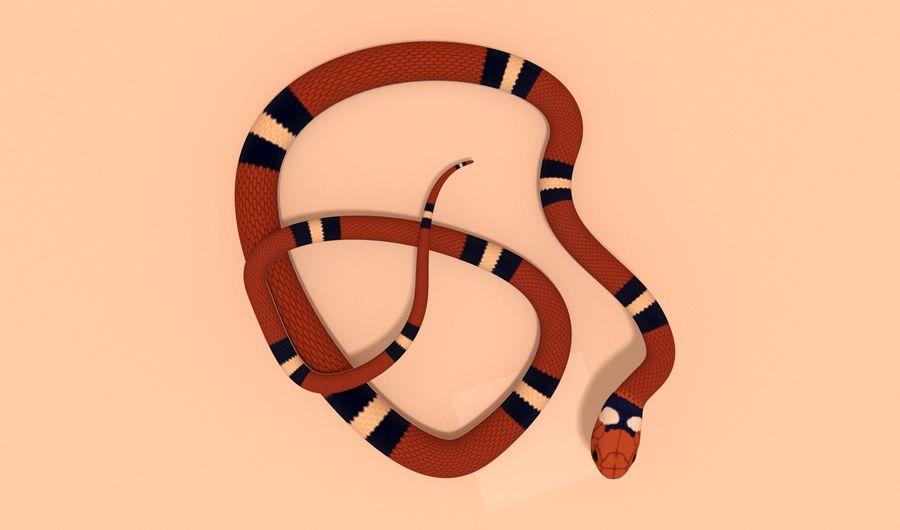 Scarlet King snake royalty-free 3d model - Preview no. 6