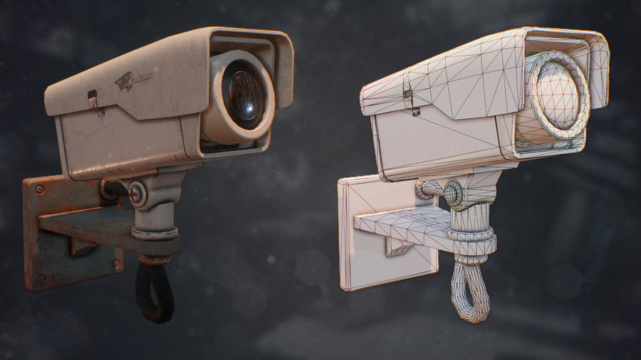 Low Poly Surveillance Camera royalty-free 3d model - Preview no. 2