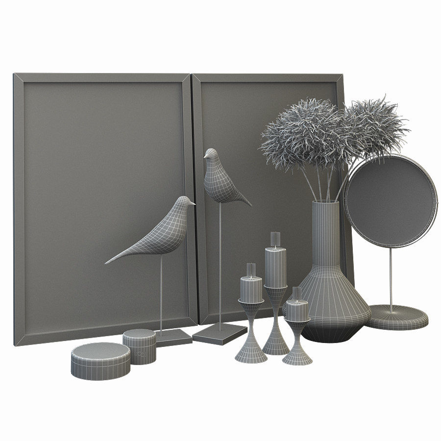 Decorative set for the interior 2 royalty-free 3d model - Preview no. 5