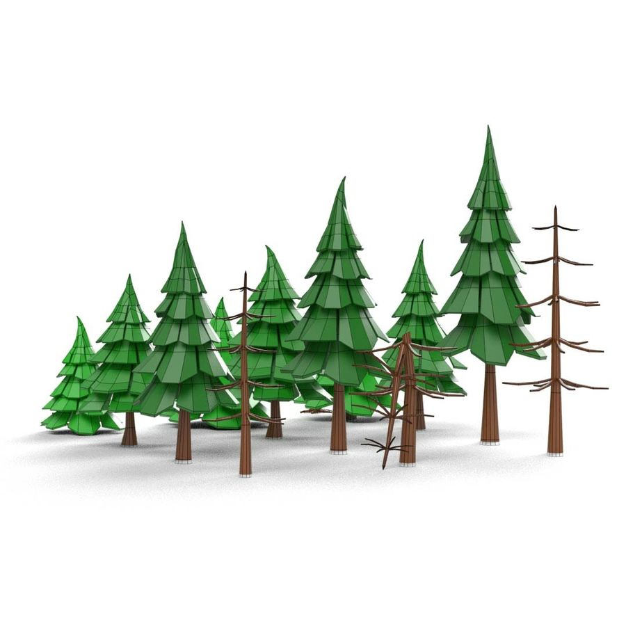 LowPoly Cartoon Pine Tree Forest royalty-free 3d model - Preview no. 10