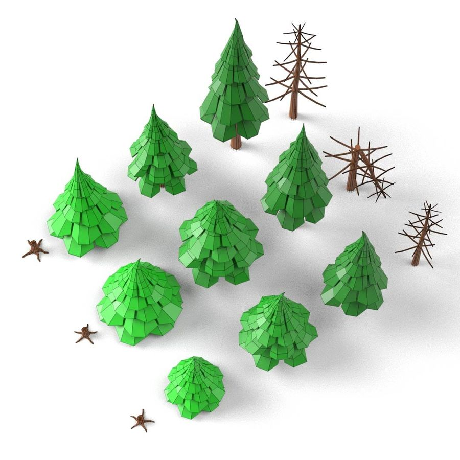 LowPoly Cartoon Pine Tree Forest royalty-free 3d model - Preview no. 7