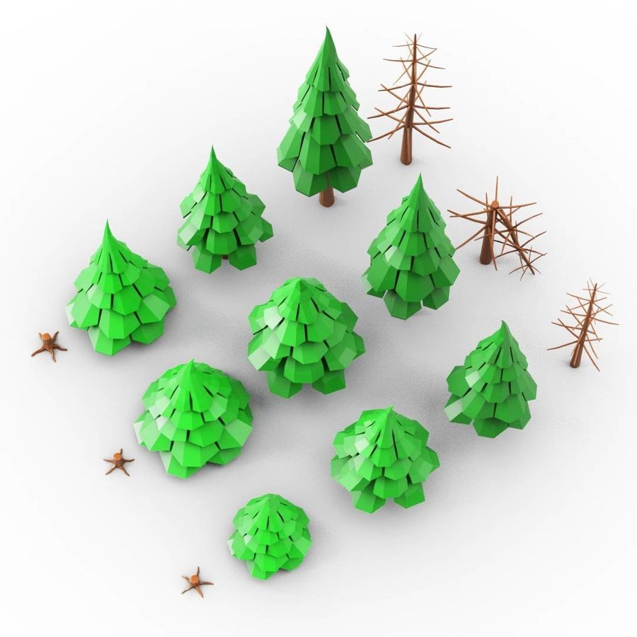 LowPoly Cartoon Pine Tree Forest royalty-free 3d model - Preview no. 2