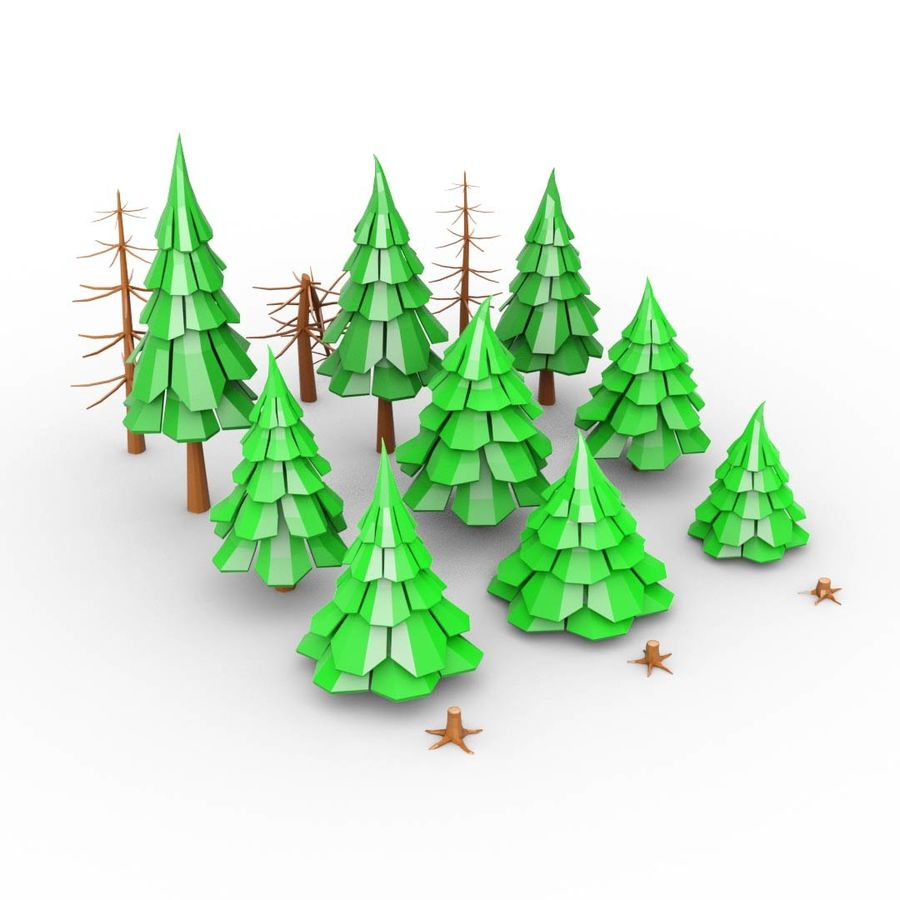 LowPoly Cartoon Pine Tree Forest royalty-free 3d model - Preview no. 1