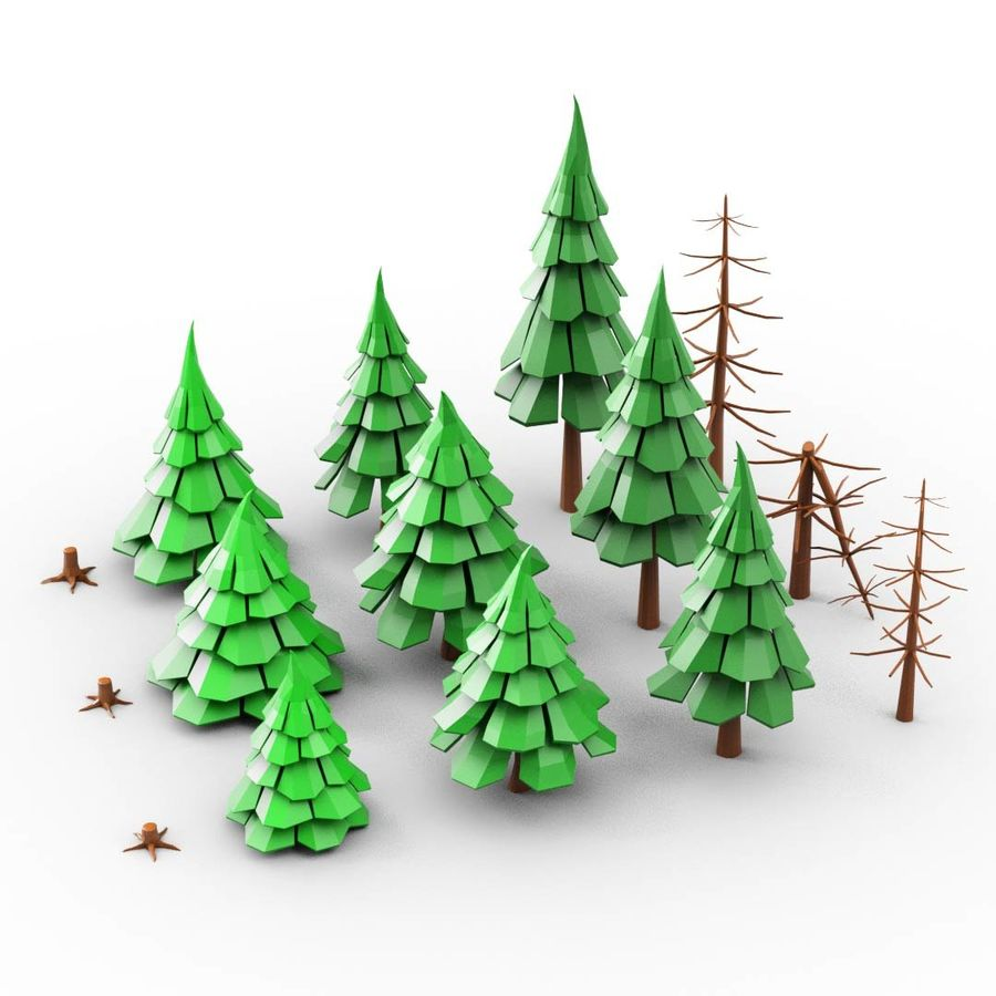 LowPoly Cartoon Pine Tree Forest royalty-free 3d model - Preview no. 3