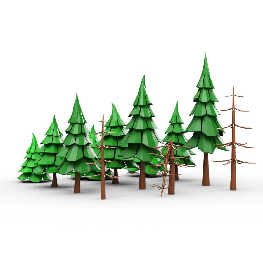 LowPoly Cartoon Pine Tree Forest royalty-free 3d model - Preview no. 5
