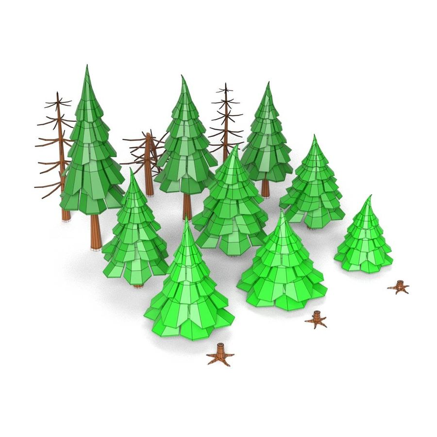 LowPoly Cartoon Pine Tree Forest royalty-free 3d model - Preview no. 6