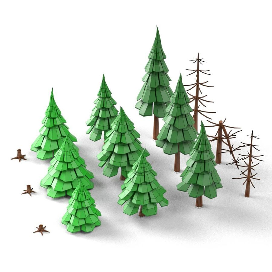 LowPoly Cartoon Pine Tree Forest royalty-free 3d model - Preview no. 8