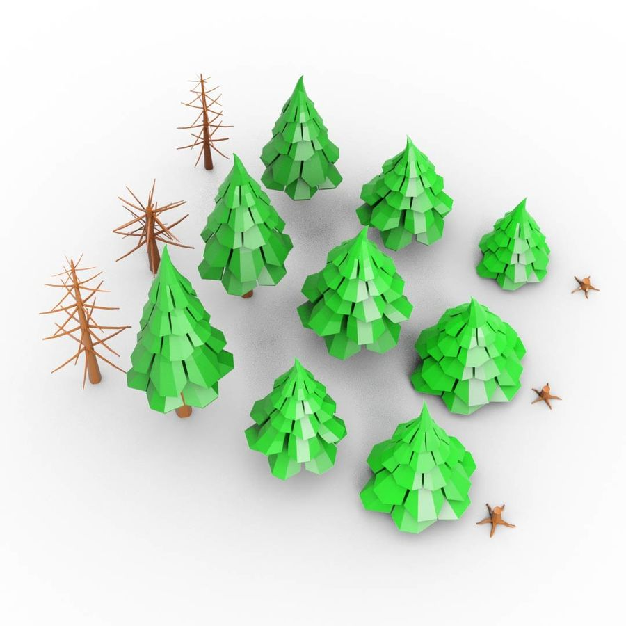 LowPoly Cartoon Pine Tree Forest royalty-free 3d model - Preview no. 4