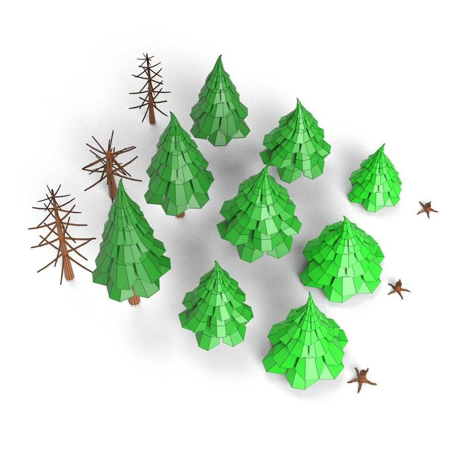 LowPoly Cartoon Pine Tree Forest royalty-free 3d model - Preview no. 9