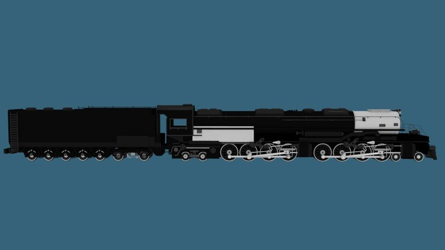 Low-Poly Steam Engine Locomotive royalty-free 3d model - Preview no. 6