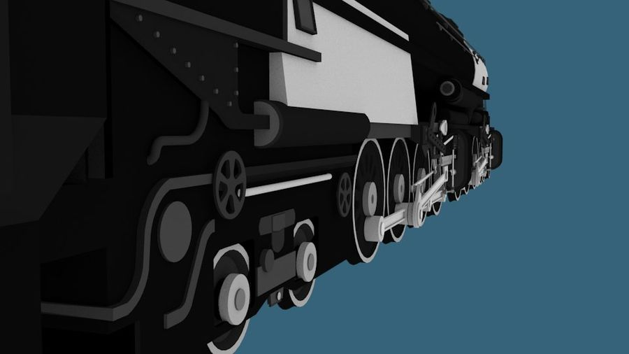 Low-Poly Steam Engine Locomotive royalty-free 3d model - Preview no. 8
