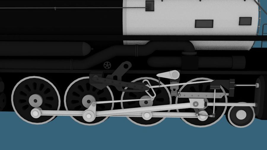 Low-Poly Steam Engine Locomotive royalty-free 3d model - Preview no. 7