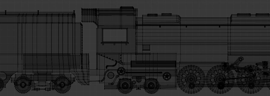 Low-Poly Steam Engine Locomotive royalty-free 3d model - Preview no. 11