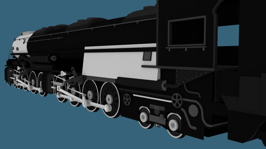 Low-Poly Steam Engine Locomotive royalty-free 3d model - Preview no. 3