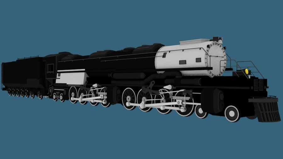 Low-Poly Steam Engine Locomotive royalty-free 3d model - Preview no. 1