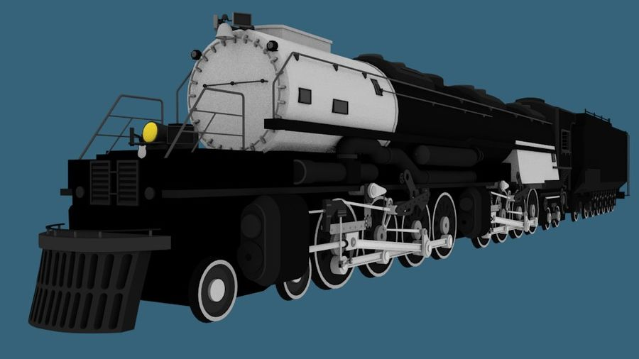 Low-Poly Steam Engine Locomotive royalty-free 3d model - Preview no. 4