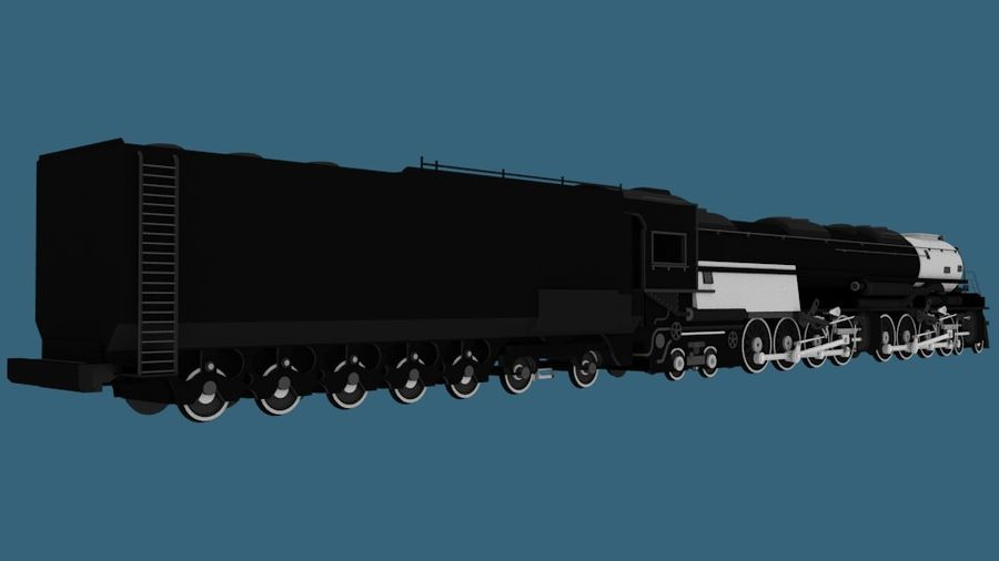 Low-Poly Steam Engine Locomotive royalty-free 3d model - Preview no. 2