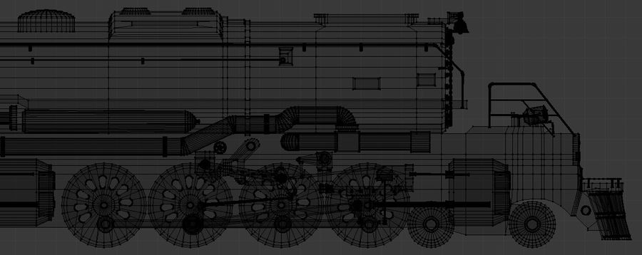 Low-Poly Steam Engine Locomotive royalty-free 3d model - Preview no. 10
