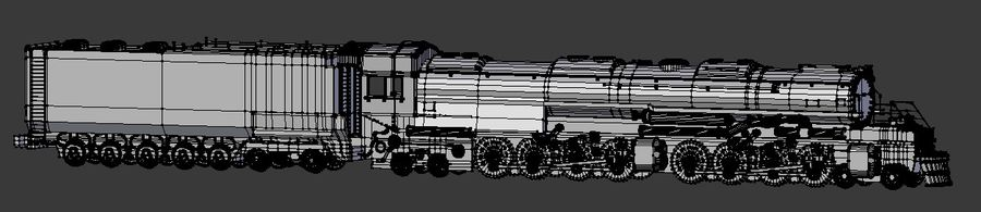 Low-Poly Steam Engine Locomotive royalty-free 3d model - Preview no. 12