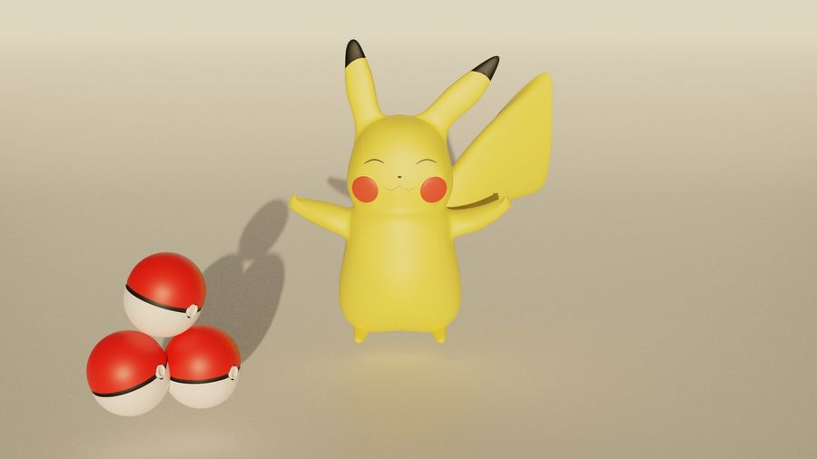 Pikachu and PokeBalls royalty-free 3d model - Preview no. 1