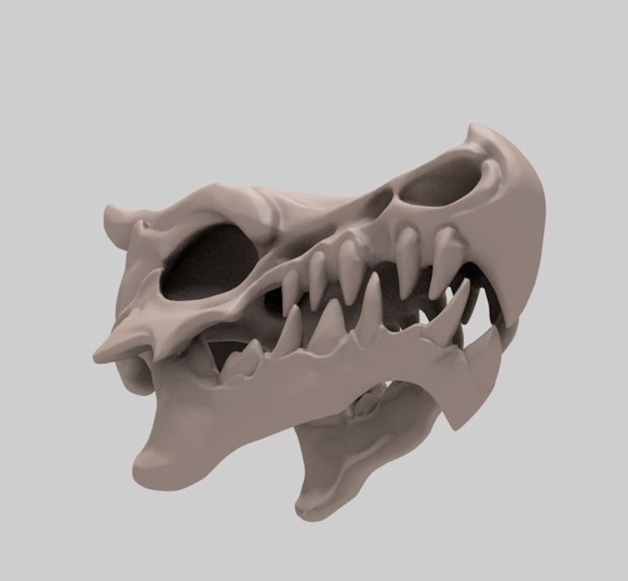 Dragon skull bones royalty-free 3d model - Preview no. 5