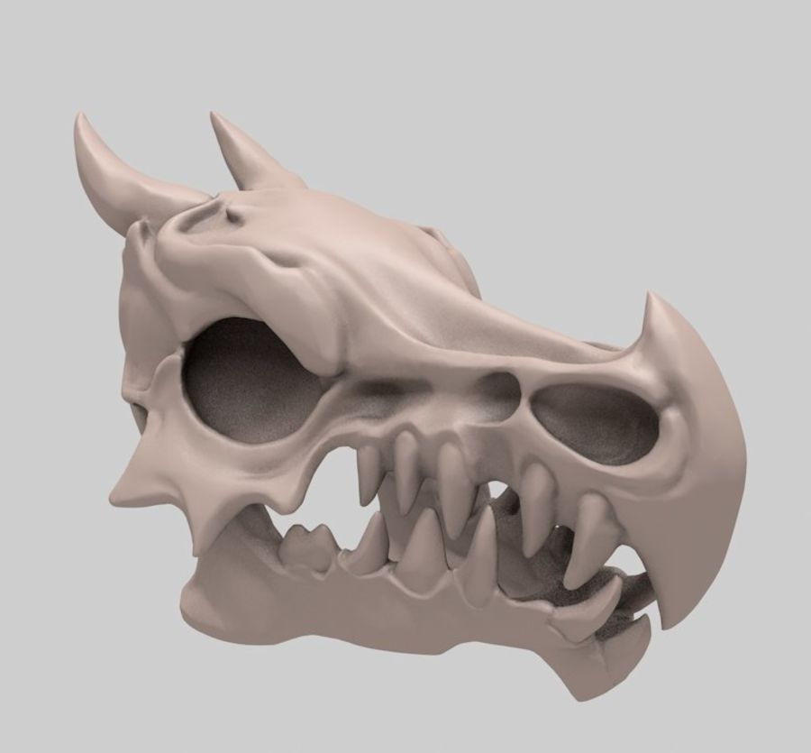 Dragon skull bones royalty-free 3d model - Preview no. 1