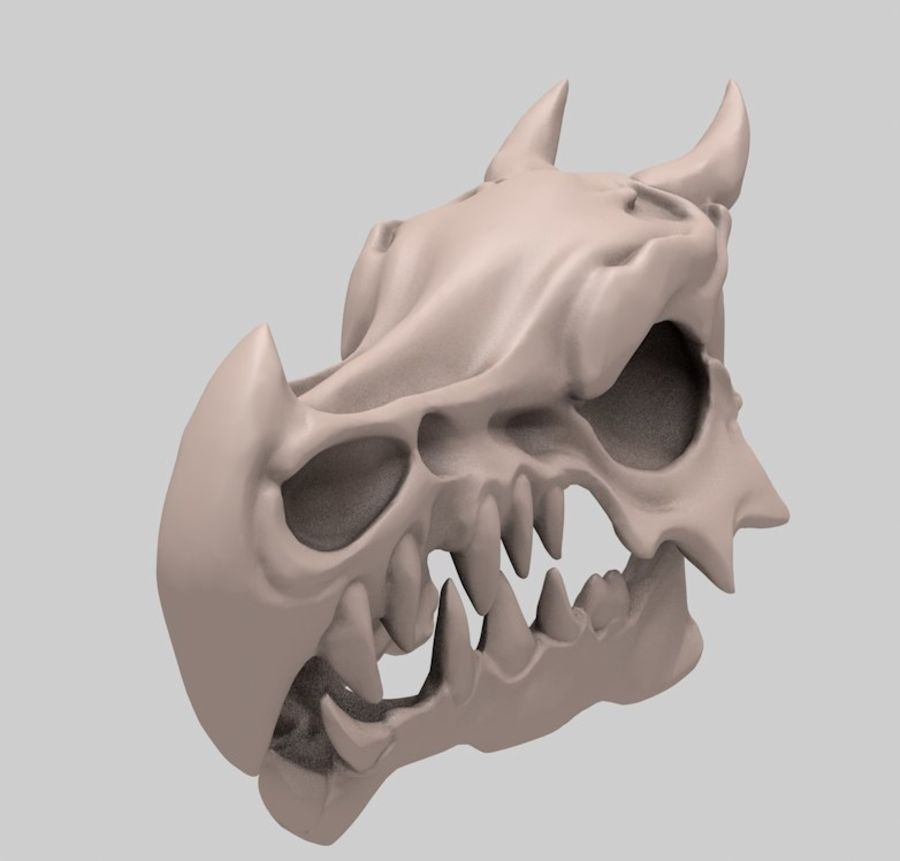 Dragon skull bones royalty-free 3d model - Preview no. 3