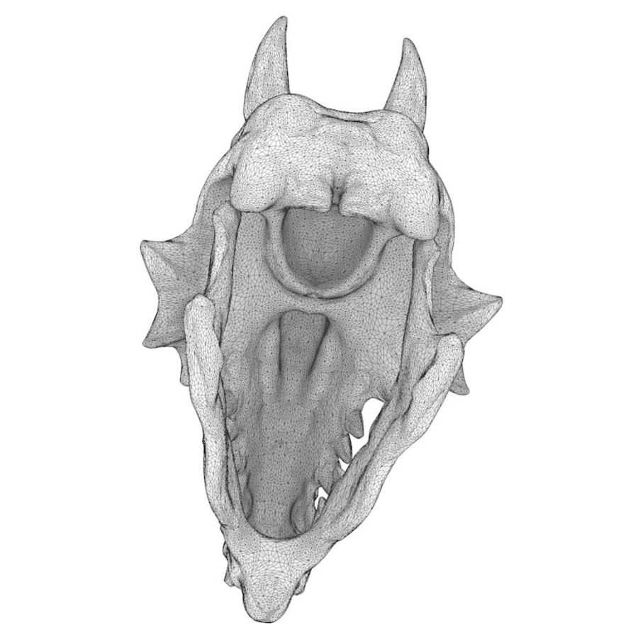 Dragon skull bones royalty-free 3d model - Preview no. 13