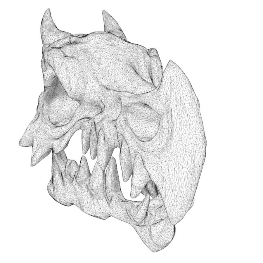 Dragon skull bones royalty-free 3d model - Preview no. 11