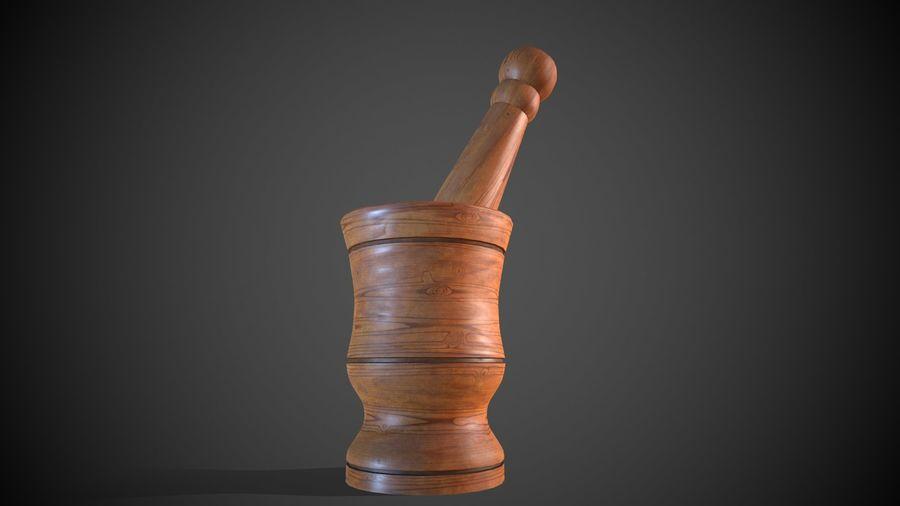 Wooden Garlic Mortar royalty-free 3d model - Preview no. 2