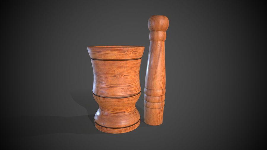 Wooden Garlic Mortar royalty-free 3d model - Preview no. 7