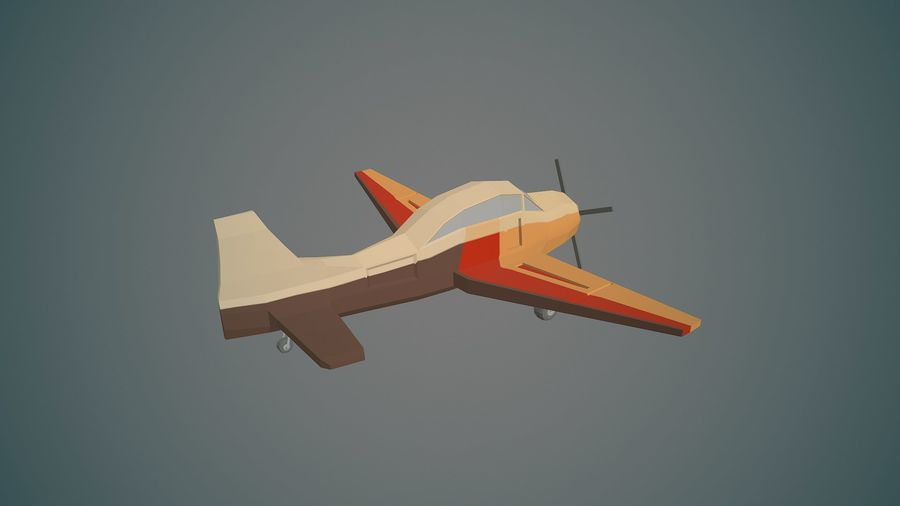 Airplane03 Low-poly royalty-free 3d model - Preview no. 6
