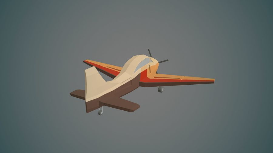 Airplane03 Low-poly royalty-free 3d model - Preview no. 4