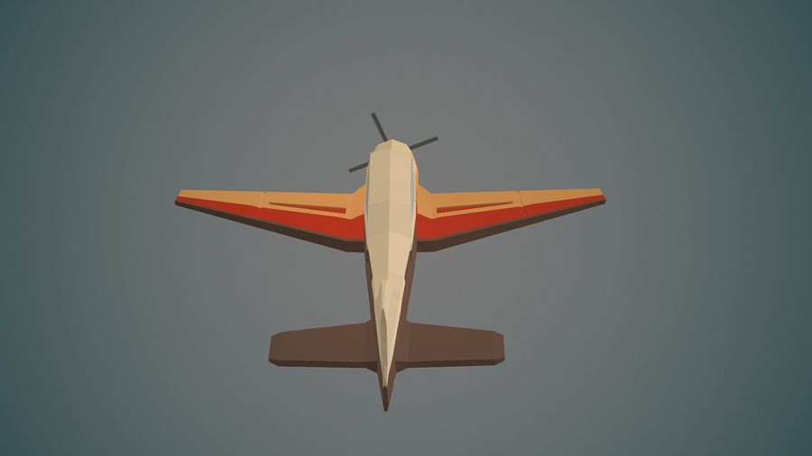 Airplane03 Low-poly royalty-free 3d model - Preview no. 9