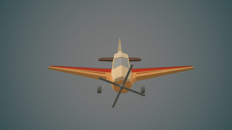 Airplane03 Low-poly royalty-free 3d model - Preview no. 7