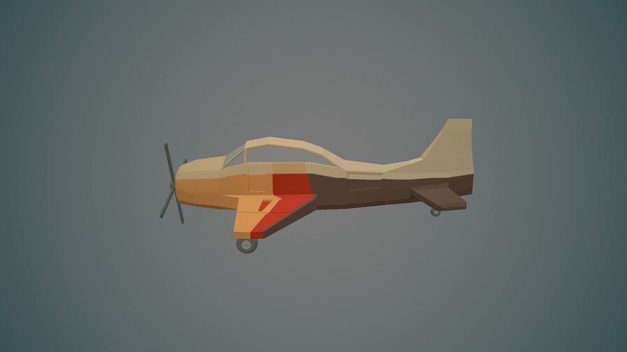 Airplane03 Low-poly royalty-free 3d model - Preview no. 1