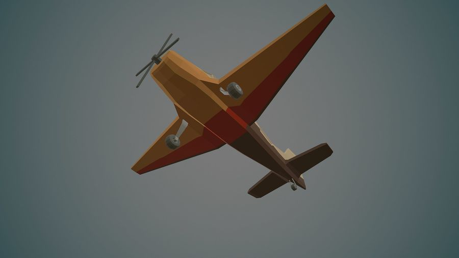 Airplane03 Low-poly royalty-free 3d model - Preview no. 8