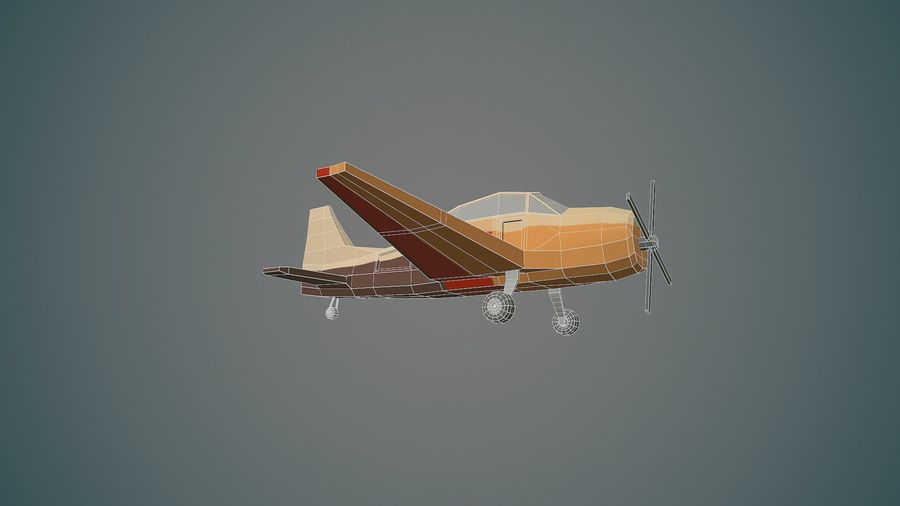 Airplane03 Low-poly royalty-free 3d model - Preview no. 13