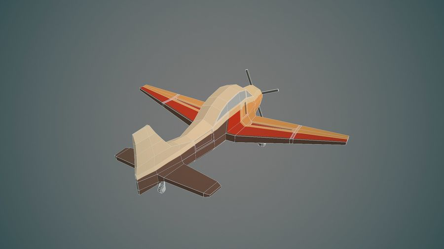 Airplane03 Low-poly royalty-free 3d model - Preview no. 12