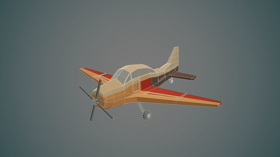 Airplane03 Low-poly royalty-free 3d model - Preview no. 2