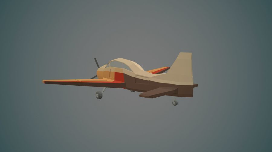 Airplane03 Low-poly royalty-free 3d model - Preview no. 3