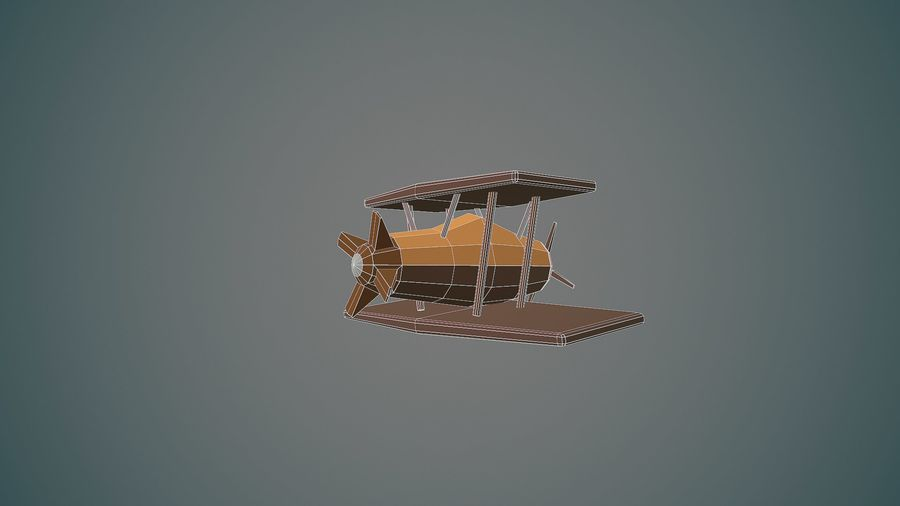 Airplane cartoon - 04 royalty-free 3d model - Preview no. 13