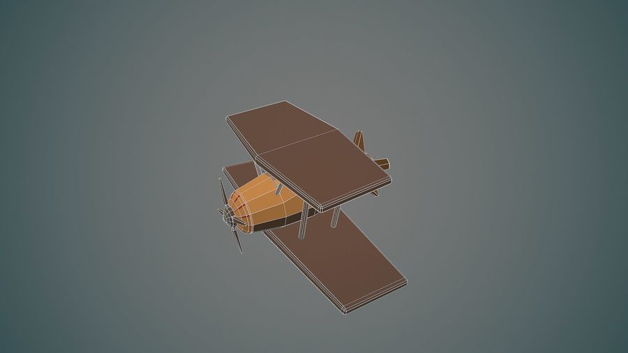 Airplane cartoon - 04 royalty-free 3d model - Preview no. 11