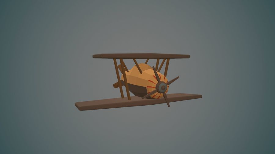 Airplane cartoon - 04 royalty-free 3d model - Preview no. 9