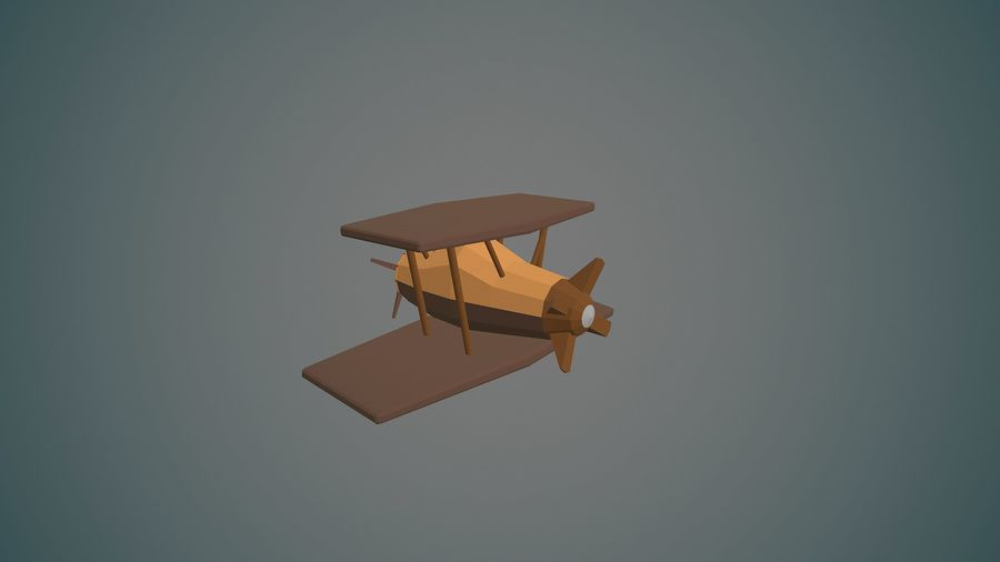 Airplane cartoon - 04 royalty-free 3d model - Preview no. 4