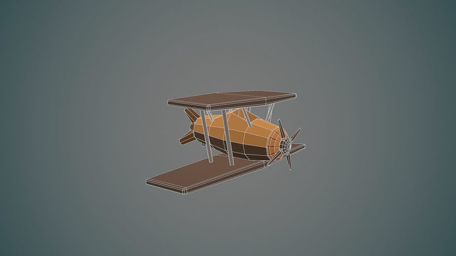 Airplane cartoon - 04 royalty-free 3d model - Preview no. 1
