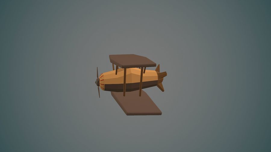 Airplane cartoon - 04 royalty-free 3d model - Preview no. 3
