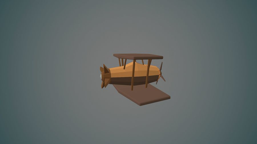 Airplane04 Low-poly royalty-free 3d model - Preview no. 5