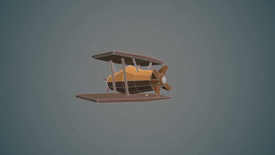 Airplane cartoon - 04 royalty-free 3d model - Preview no. 12