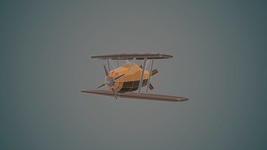 Airplane cartoon - 04 royalty-free 3d model - Preview no. 10